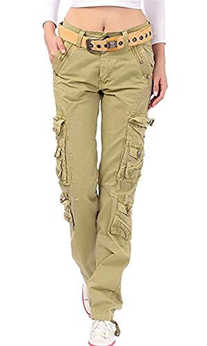NAWONGSKY Women's Travel Utility Casual Military Cargo Work Pants with Pocket, Khaki, Tag 38 = US (12-14)