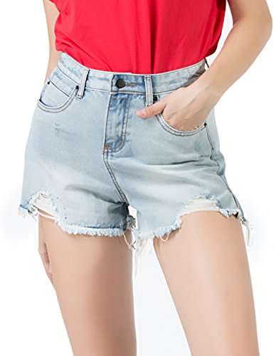 PERHAPS U Women's Denim Shorts Mid Rise Ripped Frayed Jean Shorts for Juniors Teen Girls