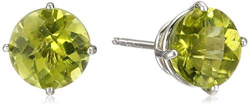 10k White Gold Round Checkerboard Cut Peridot Stud Earrings (6mm)