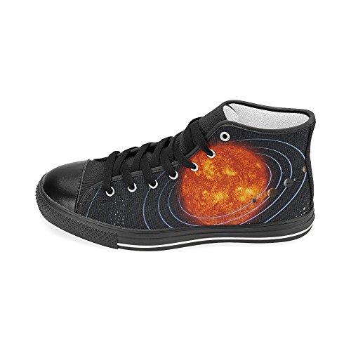 D-historien Tilpasset Solsystemet Planeten Menns Klassiske Høy Topp Lerret Sko Mote Sneaker