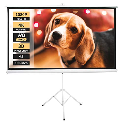 Neewer 100-inch 4:3 Projector Screen with Stand, Indoor Outdoor Projection Screen 4K HD with Premium Wrinkle-Free Design: 1.1 Gain, 160° Viewing Angle, Foldable Portable (No Carrying Bag)