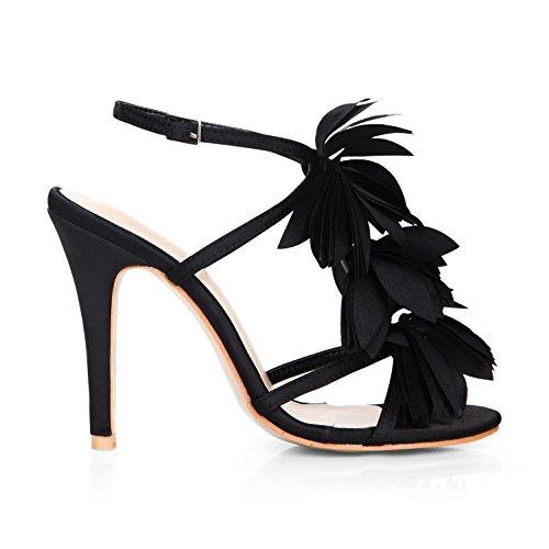 Best 4U? Women's Summer Sandals Faux Silk Tassel Stiletto Peep toe 10CM High Heels Rubber Sole Shoes Black j7tsZ8