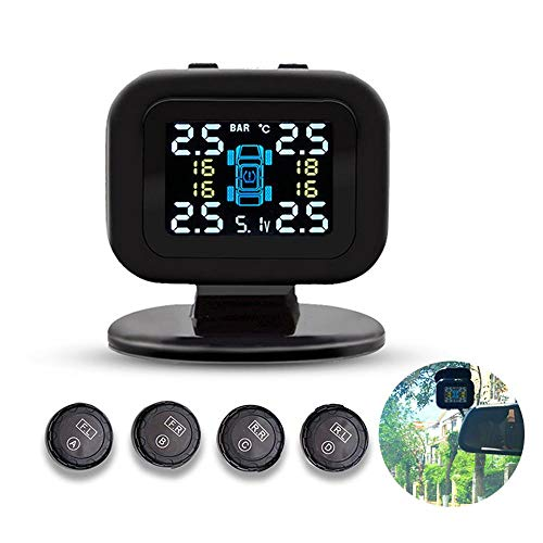 Volwco TPMS Tire Pressure Monitor System, Mini Auto Tyre Alarm With 4 External Sensors, Wireless Real-time External TPMS Sensors: