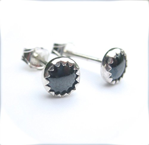 Hematite Stud Earrings, Handmade 5mm Round Bezel Set in Sterling Silver (Stud Earrings Hematite)