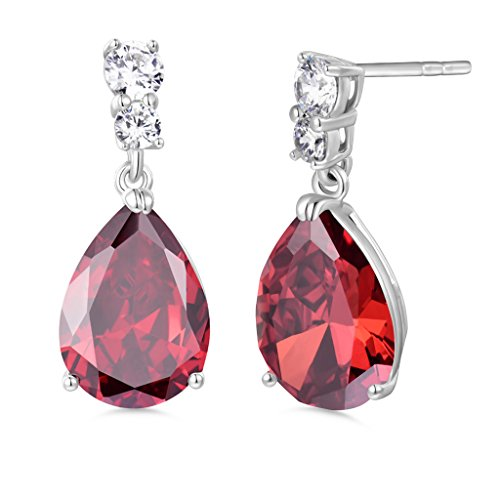 GULICX Silver Tone Ruby Color Red Zircon CZ Pear Drop Party Charming Dangle Earrings ()