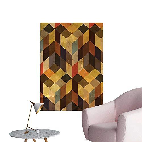 Wall Decoration Wall Stickers Shaped Lin Squar Chevr Graphic Apricot Cocoa Brown Dark Orange Print Artwork,12