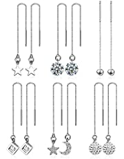 6 Pairs Crystal Threader Earrings Set Star Moon Threader Earrings Crystal Ball Chain Threader Drop Earrings Needle Drop Pull Through Earrings for Women Girls Jewellery