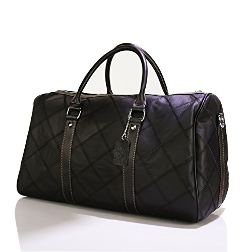 Leather Travel Duffel Bag Weekender Overnight Carry On Luggage Luxurious Vintage Leather Perfect Fit to Airplane Underseat (Black) by Gionar (Image #1)