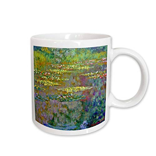 3dRose mug_155656_2 Water Lilies by Impressionist Artist Claude Monet Waterlilies on Lake Famous Nature Impressionism Ceramic Mug, 15-Ounce