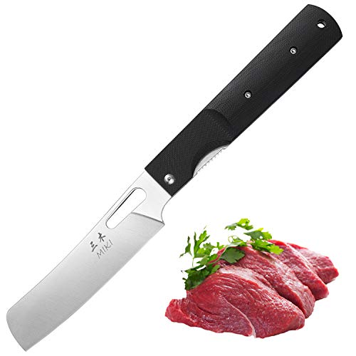 (Risuning 440A Stainless Steel Blade Japanese Kitchen Chef Folding Pocket Knife for Outdoor Camping Cooking)