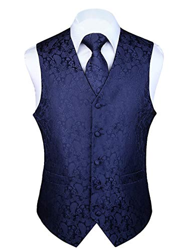 (HISDERN 3pc Men's Paisley Floral Jacquard Waistcoat & Necktie and Pocket Square Vest Suit Set Navy Blue)