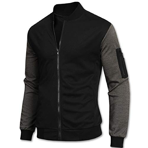 Stand Weight Splice College Mens RkBaoye Light Cardigan Black Collar Jacket P5xOSqBR