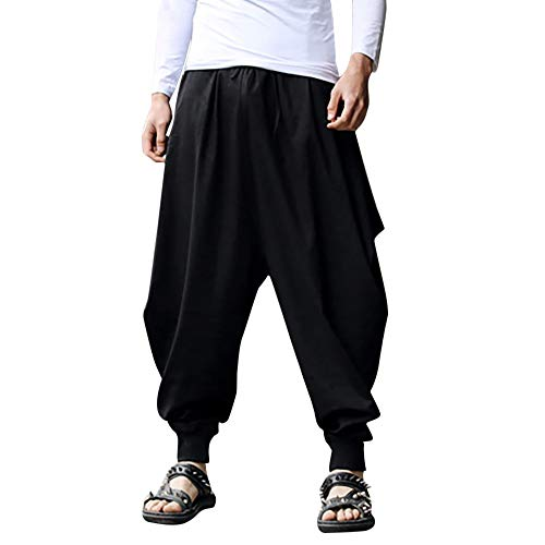 - iYYVV Mens Harem Baggy Pants Cotton Linen Festival Solid Trousers Retro Gypsy Pants Black