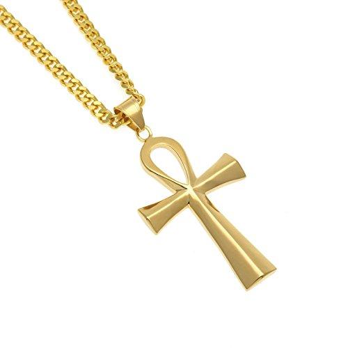 98ed4b8ec265 Beydodo Colgante Collar Chapado en Oro Hombre Collar de Hombre Collar Cruz  Retro Punk Collar Oro