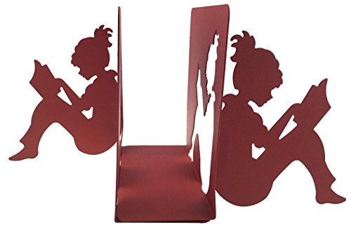 Winterworm 3D Paper-cut Little Girl Is Reading Patten Metal Bookends Book Ends For Kids Teenagers Teachers Students Adults Study Home School Library Office Decoration Birthday Christmas Gift (Red)