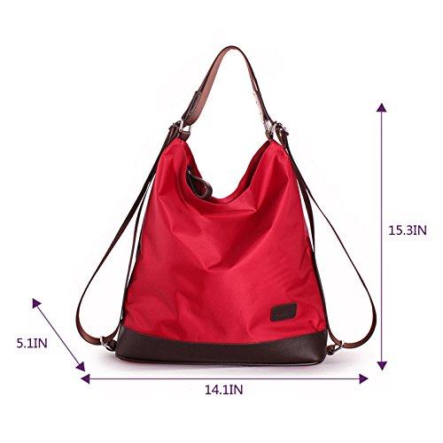 rosso a zaino La Fashion tracolla Black donna nylon a multi borsetta Tote 63 funzione Haute borsetta borsa tracolla elegante da LHTE Nero qf1wqxva