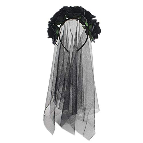 Shantan Halloween Headband Women Girl Rose Flower Crown Lace Veil Garland for Party Wedding Festival Hair Accessory Photo Props Headpiece Christmas Floral Day The Dead Costume Wreath Girls -