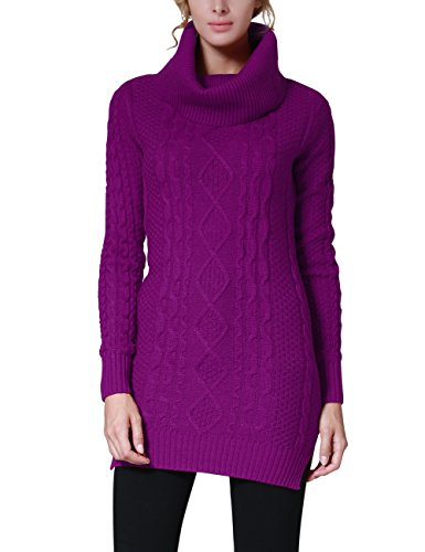 Rocorose Women's Cowl Neck Slit Side Long Pullover Sweater Fuchsia (Autumn Cashmere Cowl Neck Sweater)