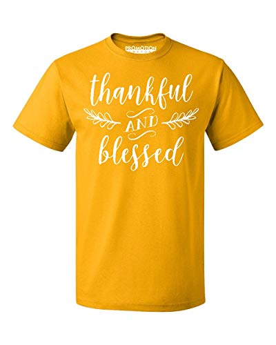 Promotion & Beyond Thankful and Blessed Thanksgiving Men's T-Shirt, L, Gold