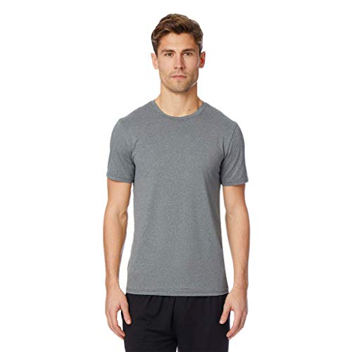 32 DEGREES Mens Cool Solid Crew Neck Tee Shirt, Grey Heather, Size Large -