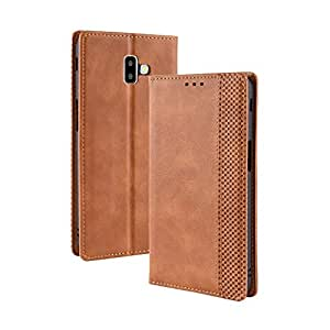 Protective Case Compatible with Samsung PU Leather+Soft Inner Design Business Magnetic Closure Flip Wallet Protective Case Cover Compatible Samsung Galaxy J6 Plus/J6+ Phone case (Color : Brown)