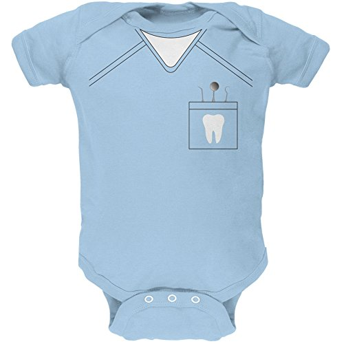 [Halloween Dentist Scrubs Costume Light Blue Soft Baby One Piece - 3-6 months] (Scary Dentist Costume)