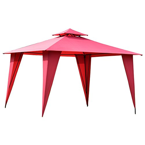 11'X11' Burgundy Gazebo Patio Canopy Tent Outdoor Party Shelter (Barn Style Portable Garage Canopy)