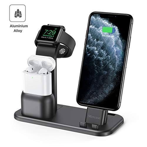 Mercase Apple Charging Station,3 in 1 Aluminum Charging Dock for iPhone Apple Watch and AirPods,Compatible with AirPods,iWatch Series 5/4/3/2/1,iPhone 11/ Xs/X Max/XR/X/8/8Plus/7/7 Plus(Space Grey)