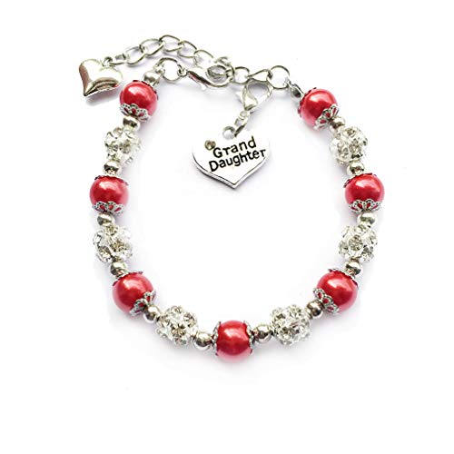DOLON Simulated Pearl Bead Granddaughter Charm Bracelet Jewelry Gift Red