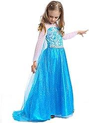ab64d375df570 UR Fashion キッズ 子供ドレス プリンセス ワンピース コスチューム コスプレ衣装 長袖 ブルー サイズ110