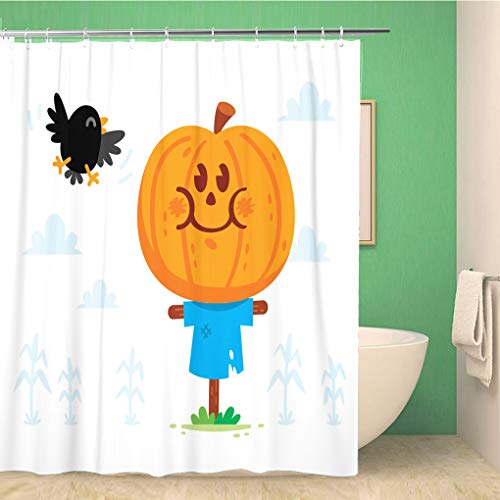 Halloween Sweets Clipart (rouihot 72x72 Inches Shower Curtain Set with Hooks Halloween Clipart Cute and Sweet Scarecrow with a Pumpkin Head Have a Crow Friend Home Decor Waterproof Polyester Fabric Bathroom)