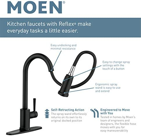 Moen 7295SRS Brantford One-Handle Pullout Kitchen Faucet Featuring Power Clean and Reflex, Spot Resist Stainless