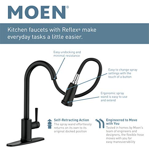 Moen 7185ESRS Brantford Motionsense Two-Sensor Touchless One-Handle High Arc Pulldown Kitchen Faucet Featuring Reflex…