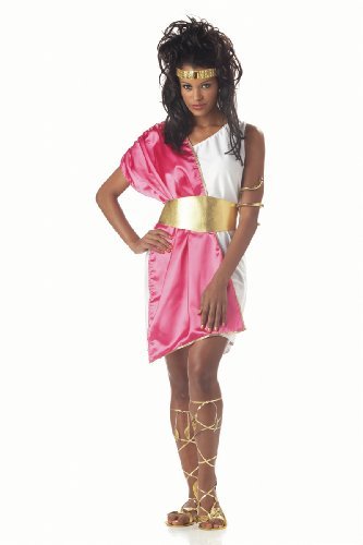 Toga Costumes Female (California Costumes Women's Toga Woman,White/Fuchsia,One Size Costume)