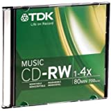 TDK Music 1X-4X 80-Min Digital-Audio CD-RW 10-Pak in Ultra-Slim Jewel Cases