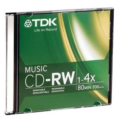 TDK Music 1X-4X 80-Min Digital-Audio CD-RW 10-Pak in Ultra-Slim Jewel Cases