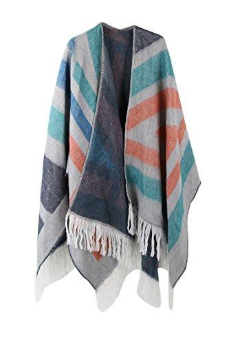 VamJump Women Winter Cashmere Oversized Blanket Poncho Cape Shawl Cardigan Coat, Blue-278, onesize