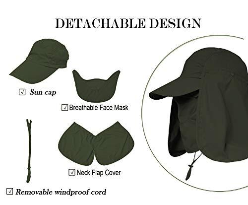 be87ae166 Jormatt Women & Men Outdoor Sun Hat Fishing Hiking Running Gardening Hat  with Face Neck Flap Protection Cover Removable Summer UPF 50+ Folding UV  Sun ...