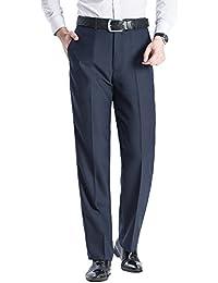 Men's Straight Fit No-Iron Dress Pants Slacks Relaxed Fit Wrinkle-Free Plain Front Suit Pants Trousers