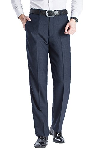 FLY HAWK Men's Stain Resistant Flat Front Ultimate Traveler Flat Front Work Pant Navy Blue US Size 34x31 (Silk Slacks)