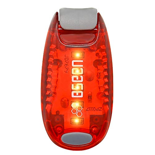Bseen Led Safety Lights Clip On Strobe Light Running Cycling Bike Tail Dog Collar Warning Night Light Hight Visibility Accessories for Reflective Gear - Red