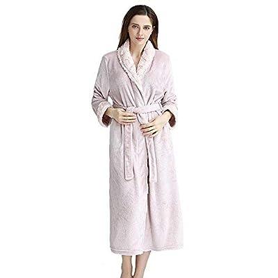 Gelaiken Women Socks Autumn Winter Flannel Bathrobes Faux Fur Collar Coral Velvet Nightgown Pajamas Home Service Fashion Bathrobe (Color : Pink, Size : M) Girls Knee-high Socks