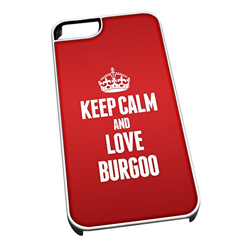 Bianco Cover per iPhone 5/5S 0879Rosso Keep Calm And Love burgoo