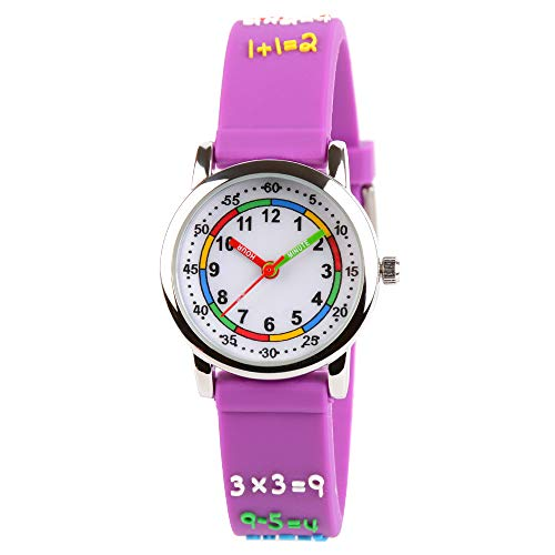 Venhoo Kids Watches 3D Cute Cartoon Waterproof Silicone Children Toddler Wrist Watch Time Teacher Birthday Gift for 3-10 Year Boys Girls Little Child (Metal Purple Number)