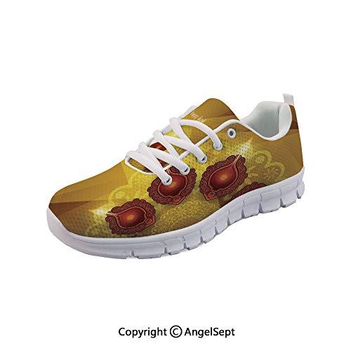 oobon Women's Sneakers Golden Geometric Cut Backdrop Traditional Casual Sport Run Sho