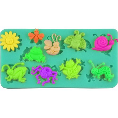 Summer Grass theme candy mold, Sugarcraft fondant gunpaste cake decoration cupcake topper icing sugarpaste silicone mould, includes sun, insects (bee butterfly ladybug snail caterpillar spider grasshopper) , frog, non stick Sugar paste, Chocolate, Butter, Resin, Cabochon, Polymer Clay, fimo, gum paste, PMC, Wax, Candle, Soap Mold, 11.2*4.5*1cm