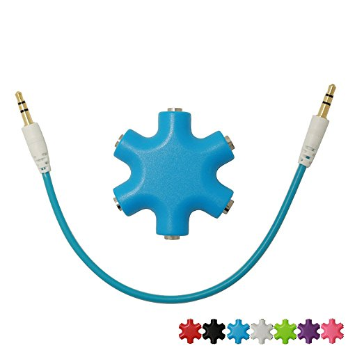 SEGMOI Snowflakes Shape 6-Way 3.5mm Stereo Audio Headset Hub Splitter Up to 5 Headphones for iPhone 4 4S 5 5S 6 6Plus iPad iPod Touch Mp3 Mp4 Samsung HTC BlackBerry LG Huawei Xiaomi (Blue)