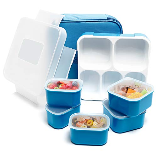 Fun Life Bento Lunch Box, 5 Compartment Insulated Leakproof Meal Prep Container Eco-Friendly Reusable for Men, Women, Adults, Kids - Heather Eco Kids
