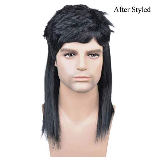 BERON 16'' New Stylish Men's Mullet Wig Costume Disco Party Synthetic Wigs Hairnet Included (Black)