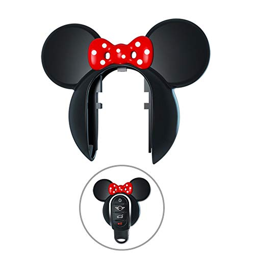(Mini Cooper Cartoon Cute Mice Ears Key Fob Cover Case Protector Casing Princess Style Keyless Entry Remote Control Guard Protection Jacket (Ear with Bow, Black))